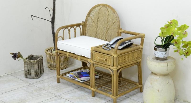 Кресло в прихожую CRUZO натуральный ротанг медовый kr0018