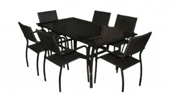 Обеденный комплект CRUZO Блэк Стил (стол +6 стульев) черный (ok0001)