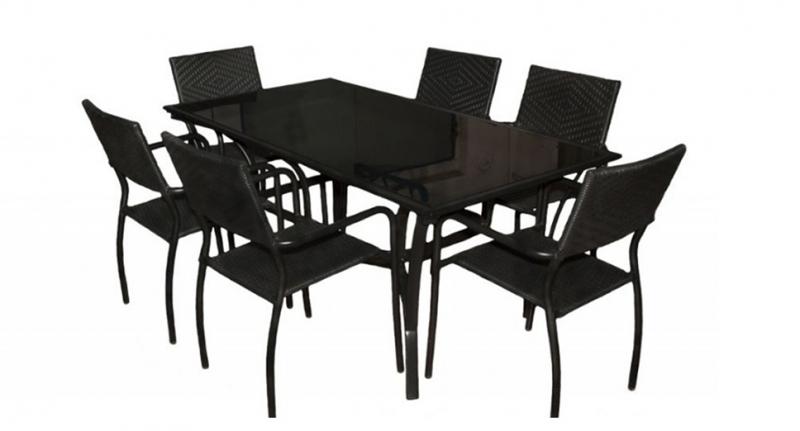Обеденный комплект мебели Бали, 6 стульев, черный, Cruzo™, kb0011