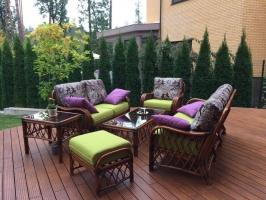 Комплект меблів Феофанія-2 CRUZO (диван, 2 крісла, столик і пуф) натуральний ротанг, горіховий, fl0003