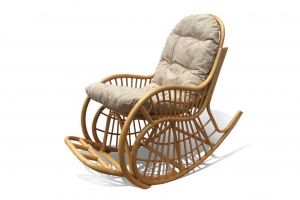 Крісло-гойдалка з подушкою Пенель з натурального ротангу медового кольору CRUZO kk00099