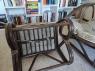 Мягкое лаунж-кресло с пуфиком Крузо Сет из натурального ротанга цвет ореховый CRUZO kr0007