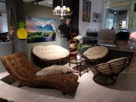 Комплект мебели для дома Папасан из натурального ротанга софа, 2 кресла и столик ореховый CRUZO d0420