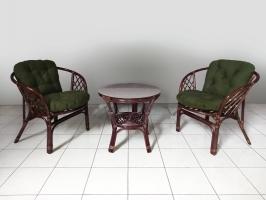 Комплект плетених меблів Таврія Дарк-грін з натурального ротангу 2 крісла та кавовий столик темно-коричневий  CRUZO 94krs