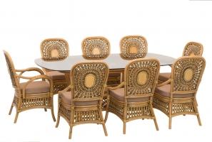 Обеденный комплект Ацтека (стол +8 кресел) натуральный ротанг светло коричневый, Cruzo™ ok0029