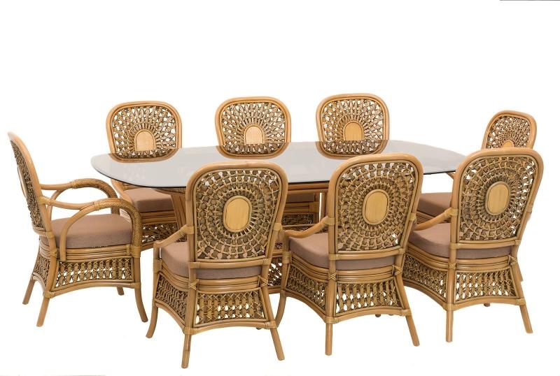 Обеденный комплект Ацтека CRUZO светло-коричневый (стол + 8 кресел), ok0029