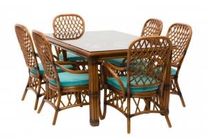 Обеденный комплект Феофания Премиум CRUZO (стол, 2 кресла, 4 стула) натуральный ротанг ореховый fl0002