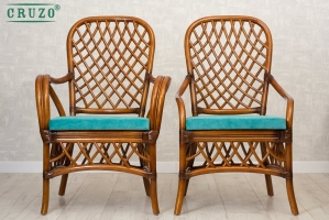 Обіднє крісло Феофанія CRUZO натуральний ротанг, горіховий, fl0009