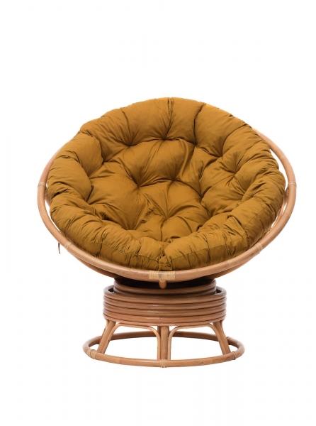 Кресло-качалка Папасан из натурального ротанга, коньячного цвета, Cruzo™, pa0002
