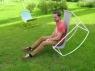 Кресло Шезлонг CRUZO металл желтый / голубой  kr0001