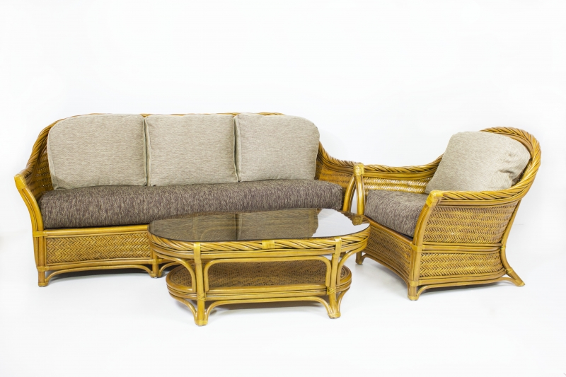 Комплект Монте Карло CRUZO (диван, кресло и столик) натуральный ротанг, ореховый, mc0001