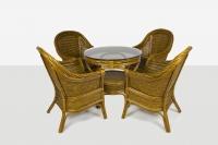 Обеденный комплект Монте Карло CRUZO (стол и 4 кресла) натуральный ротанг, светло-коричневый, ok0049