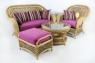 Кресло-качалка и пуф Ацтека CRUZO натуральный ротанг светло-коричневый ас0019