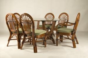 Обідній комплект CRUZO Афіна (стіл +6 стільців) натуральний ротанг горіховий ok0014