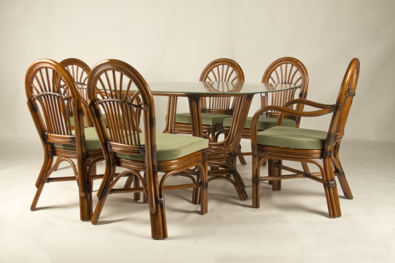 Обеденный комплект CRUZO Афина (стол +6 стульев) натуральный ротанг ореховый ok0014