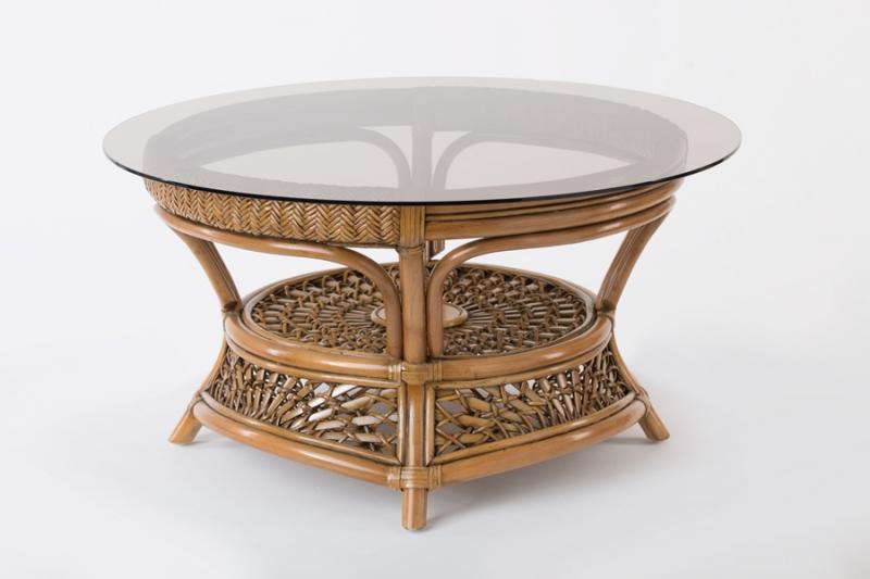 Кавовий столик Ацтека CRUZO натуральний ротанг, світло-коричневий, d00288