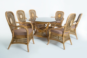 Обідній комплект Ацтека CRUZO світло-коричневий (стіл + 6 крісел), ok0028