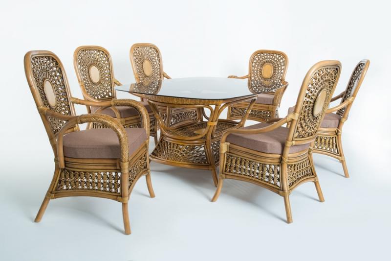 Обідній комплект Ацтека CRUZO світло-коричневий (стіл + 6 стільців) ok0028