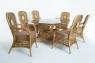 Обеденный стол Ацтека CRUZO (на 6 персон) натуральный ротанг светло-коричневый st0012a