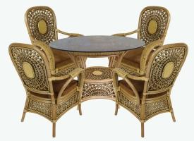 Обеденный комплект Ацтека CRUZO (стол +4 кресла) натуральнsй ротанг, коричневый, ac0044