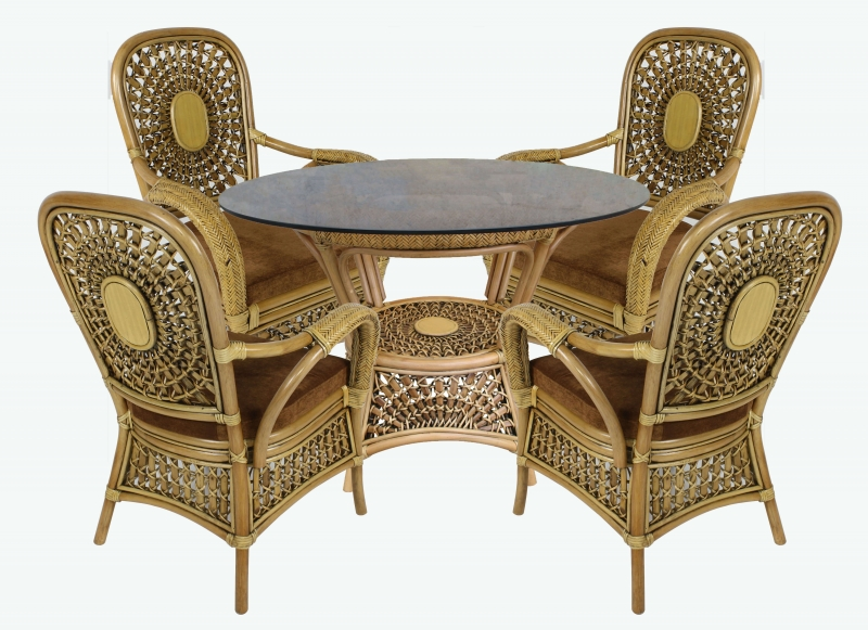 Обеденный комплект Ацтека CRUZO (стол +4 кресла) натуральнsй ротанг коричневый ac0044