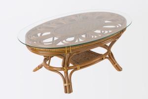 Кавовий стіл Асканія CRUZO натуральний ротанг, королівський дуб, st0013