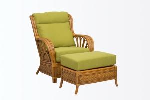 Кресло с пуфом Аскания натуральный ротанг, Cruzo™ kr0023