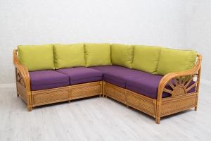 Угловой диван Аскания CRUZO натуральный ротанг светло-коричневый d00281