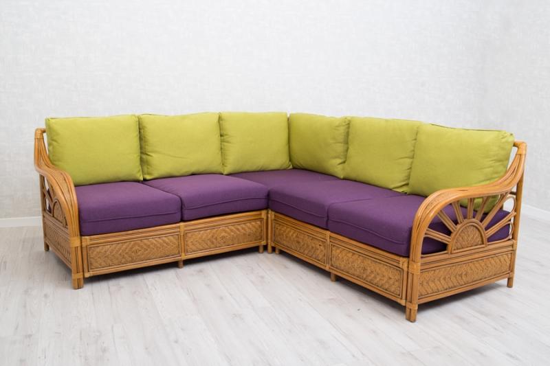 Угловой диван Аскания CRUZO натуральный ротанг, светло-коричневый, d00281