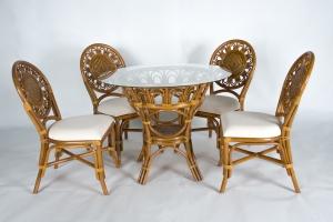Обеденный комплект Аскания (стол +4 стула) натуральный ротанг королевский дуб, Cruzo™ ok0019
