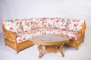 Угловой диван Аскания со столиком CRUZO натуральный ротанг королевский дуб d0017