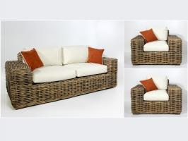 Комплект плетеной мебели Бабл (диван и 2 кресла) натуральный ротанг, коричневый, bb0013