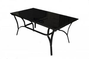 Обідній стіл CRUZO Балі метал / скло, чорний, st0004