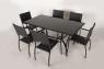 Обеденный комплект Блэк Стил CRUZO (стол +6 стульев) металл черный ok0001