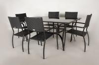 Обеденный комплект CRUZO Блэк Стил (стол +6 стульев) металл черный ok0001