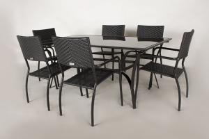 Обідній комплект меблів для вулиці Блек Стіл з металу чорний os0001