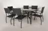 Обеденный комплект Блэк Стил CRUZO (стол + 6 стульев) металл, черный, ok0001