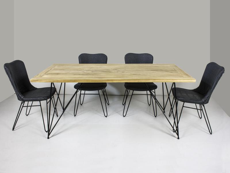 Обеденный комплект Бонни (стол 180x90 см и 4-6 стульев) тик лум металл kt191020201