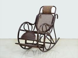 Крісло качалка Чаббі CRUZO натуральний ротанг, темно-коричневий, kk0422