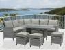 Обеденный комплект Черемош (стол, диван, 3 пуфа) CRUZO искусственный ротанг серый ok0026