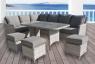 Обеденный комплект садовой мебели Черемош (стол, диван, 3 пуфа) искусственный ротанг серый, Cruzo™ ok0026