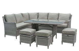 Обеденный комплект CRUZO Черемош (стол, диван, 3 пуфа) искусственный ротанг коричневый ok0026