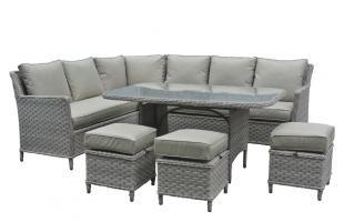 Обеденный комплект Черемош (стол, диван, 3 пуфа) CRUZO искусственный ротанг, серый, ok0026