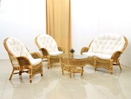 Комплект плетених меблів Копакабана Гіацинт з натурального ротангу 2 крісла і кавовий столик CRUZO km08203