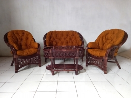 Комплект плетених меблів з натурального ротангу Копакабана софа, 2 крісла й кавовий столик темно-коричневий CRUZO d0014
