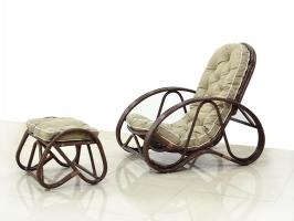 Кресло с Пуфом CRUZO Set натуральный ротанг, ореховый, kr0007