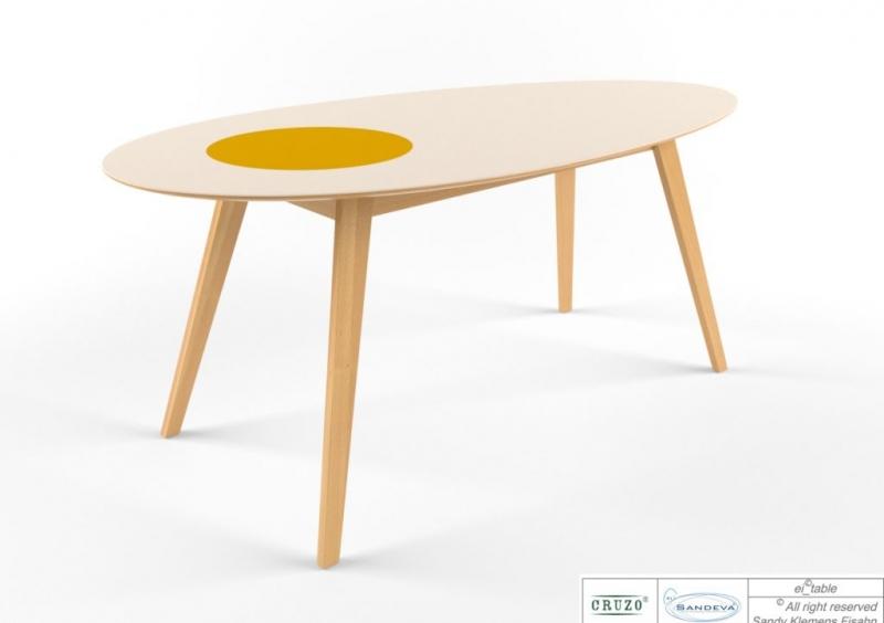 Обідній стіл Ай (із жовтком) CRUZO, тик, білий, ei0001