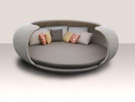 Садовый диван Нест Ай из искусственного ротанга белого цвета CRUZO ei0408