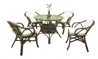 Обеденный комплект CRUZO Доминик (стол +4 кресла) светло-коричневый (ok0016)