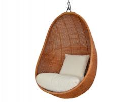 Подвесное кресло-кокон Эг CRUZO натуральный ротанг, светло-коричневый, pk08215